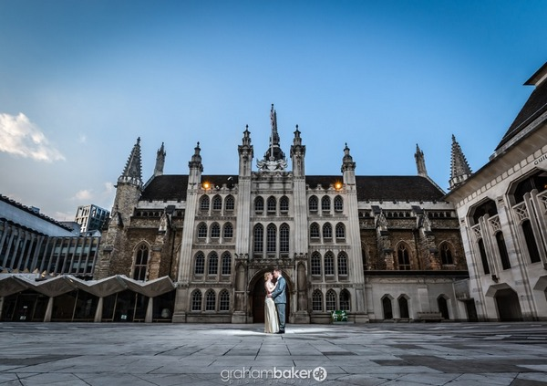 Bride and groom in front of Guildhall, London - Picture by Graham Baker Photography