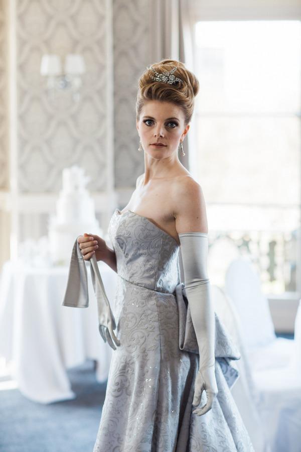 Bride in grey wedding dress
