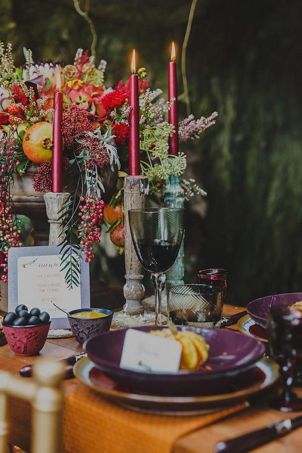 Table candles and autumn styling