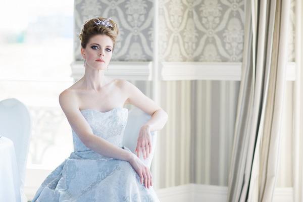 Bride sitting in The Duke of Cornwall Hotel
