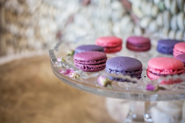 Pink and purple macaroons