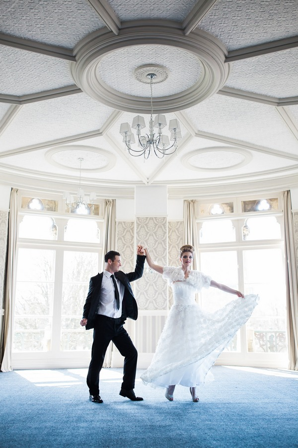 Bride and groom dancing in The Duke of Cornwall Hotel