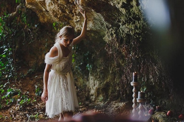 Bride going into cave