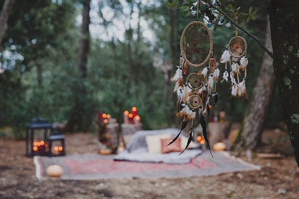 Dreamcatcher hanging in woods
