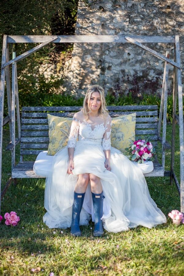 Bride wearing wellies