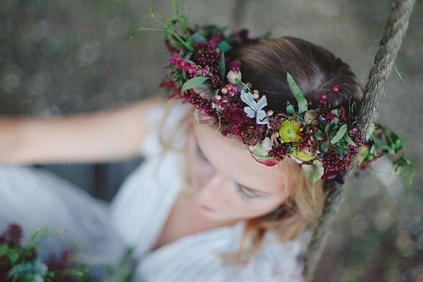 Boho bride's autumn crown
