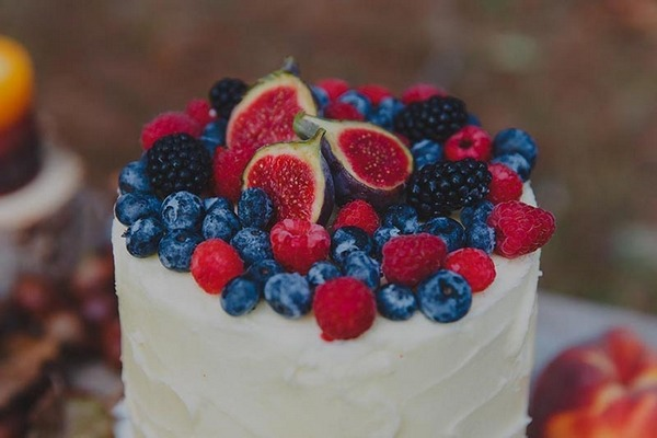 Berries on wedding cake