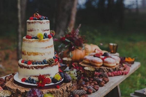 Wedding cake on dessert table