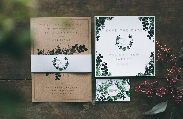 Winter Nordic wedding stationery