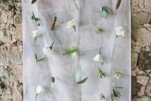 Flowers attached to voile
