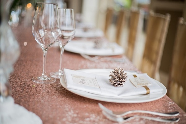 Winter wedding table place setting