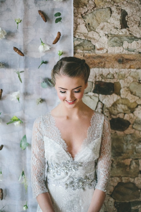 Smiling bride looking down