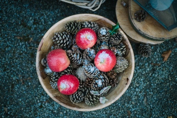 Bowl of pine cones and apples