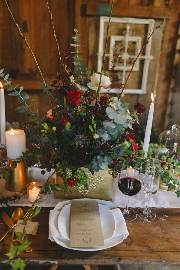 Rustic winter wedding place setting