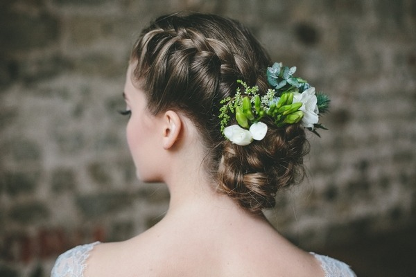 Bride with updo braid hairstyle