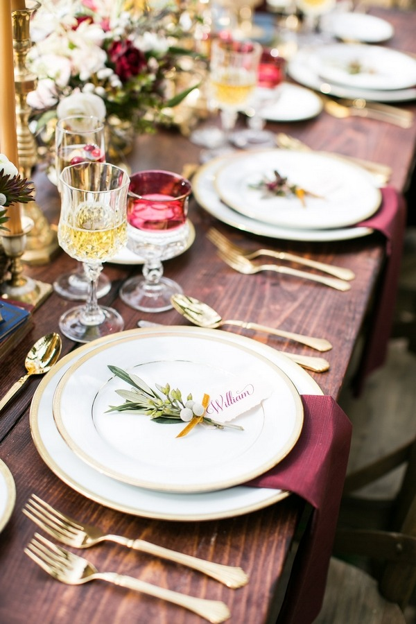 Row of plates on wedding table