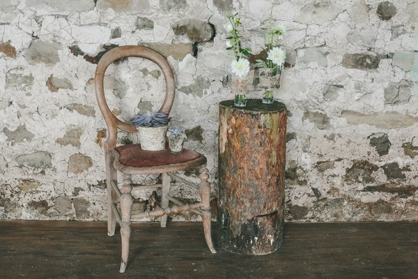 Chair with tree stump