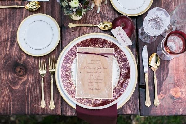 Merlot red place setting styling