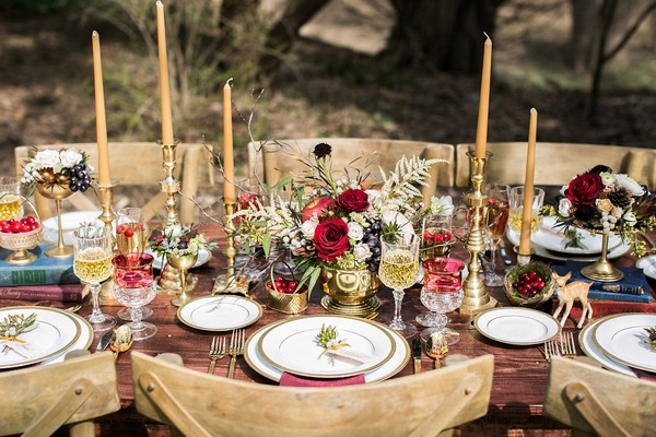 Merlot and gold styled wedding table