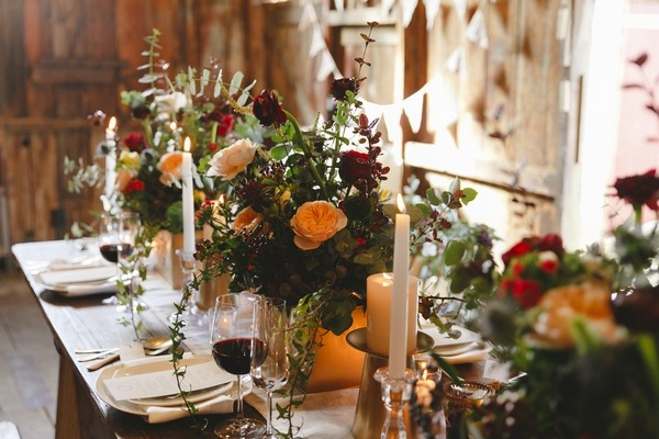 Winter floral table display