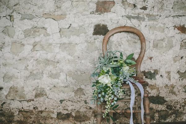 Winter wedding bouquet on chair