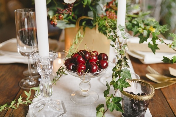 Cherries on wedding table