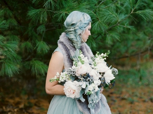 Bride with blue hair looking away
