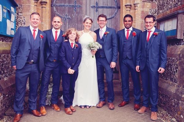Bride and groom with groomsmen