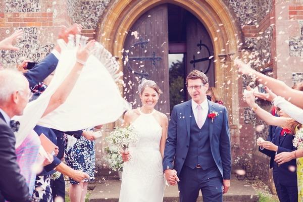 Wedding confetti shot outside Twyford church