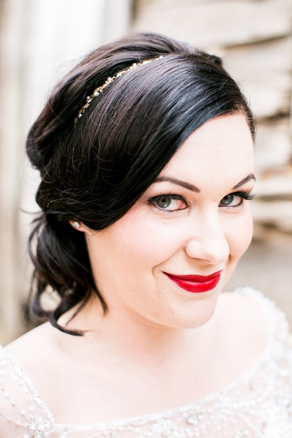 Bride with red lipstick smiling