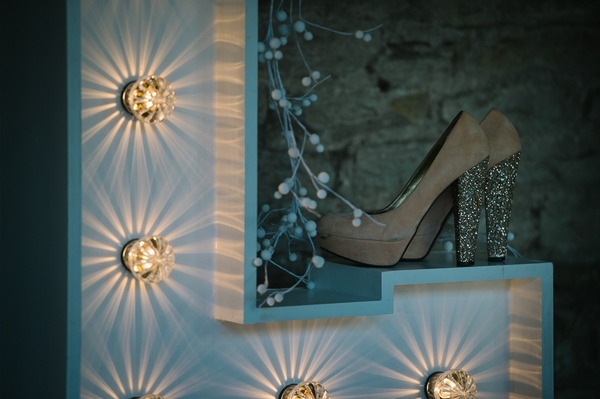 Bridal shoes with glitter heel