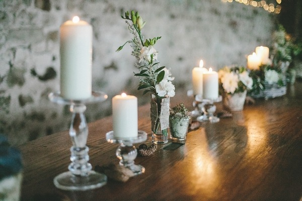 Line of candles on wedding table