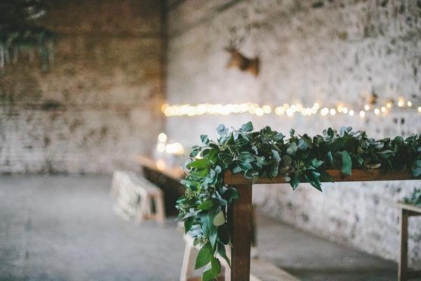 Winter wedding table garland