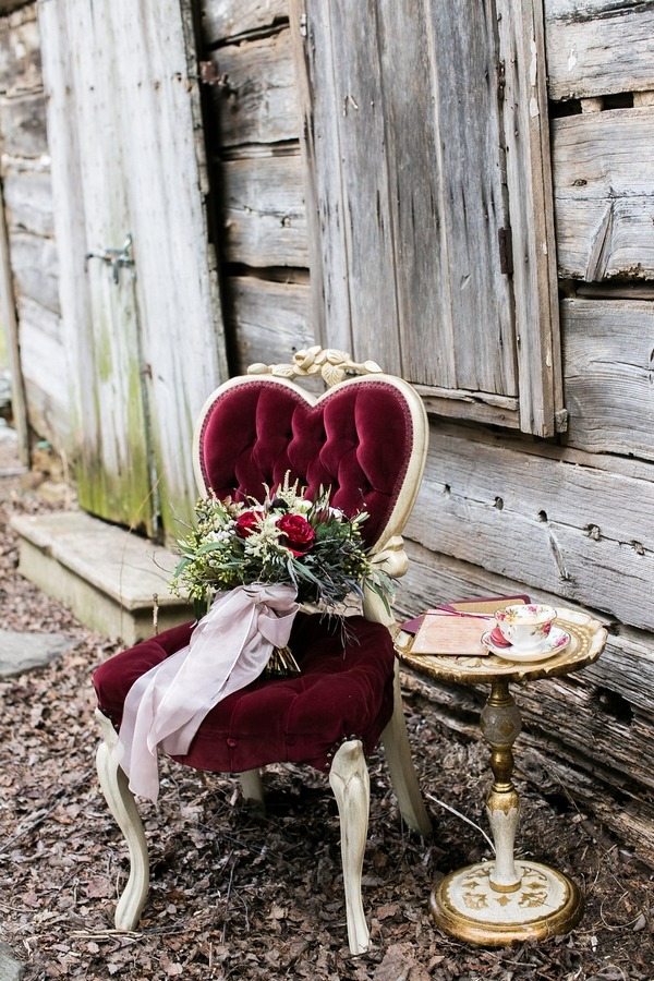 Wedding bouquet on red chair