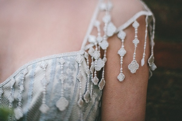 Detail on shoulder of wedding dress
