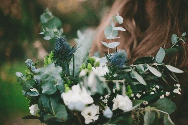 Close-up of winter wedding bouquet