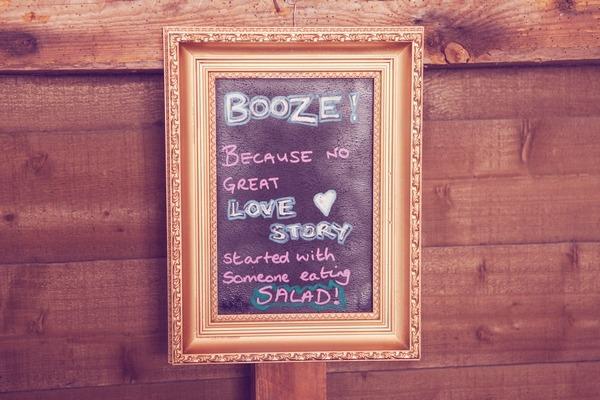 Booze chalkboard sign