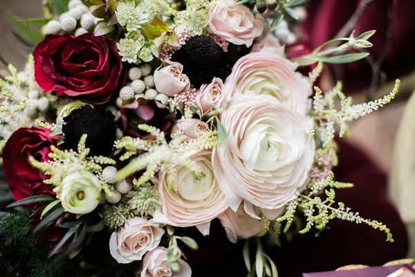 Close-up of winter wedding bouquet