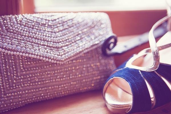 Silver bridal clutch bag