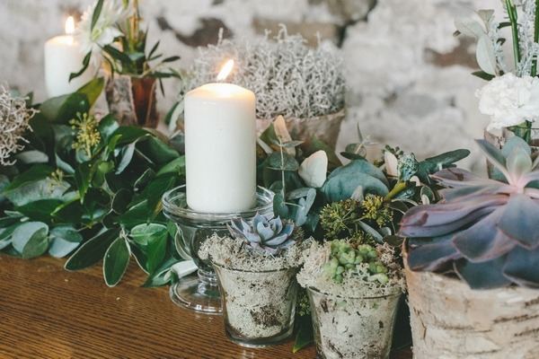 Succulents on wedding table