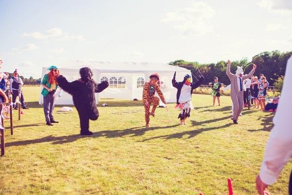 Fancy dress race at West Stoke Farm wedding