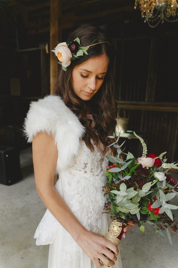 Bride wearing winter shrug