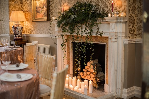 Log fire at Wyck Hill House
