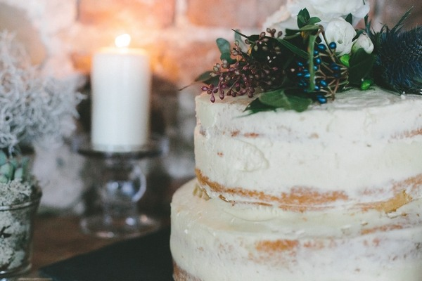 Naked winter wedding cake