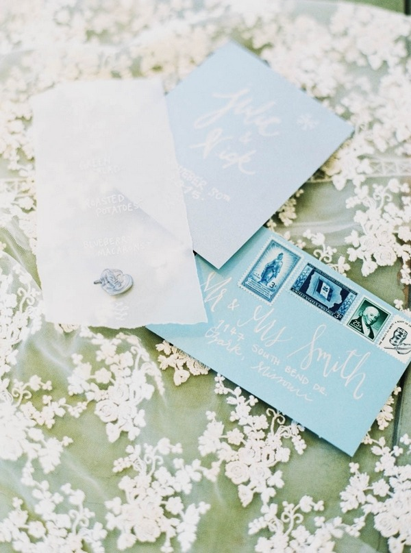 Blue winter wedding stationery