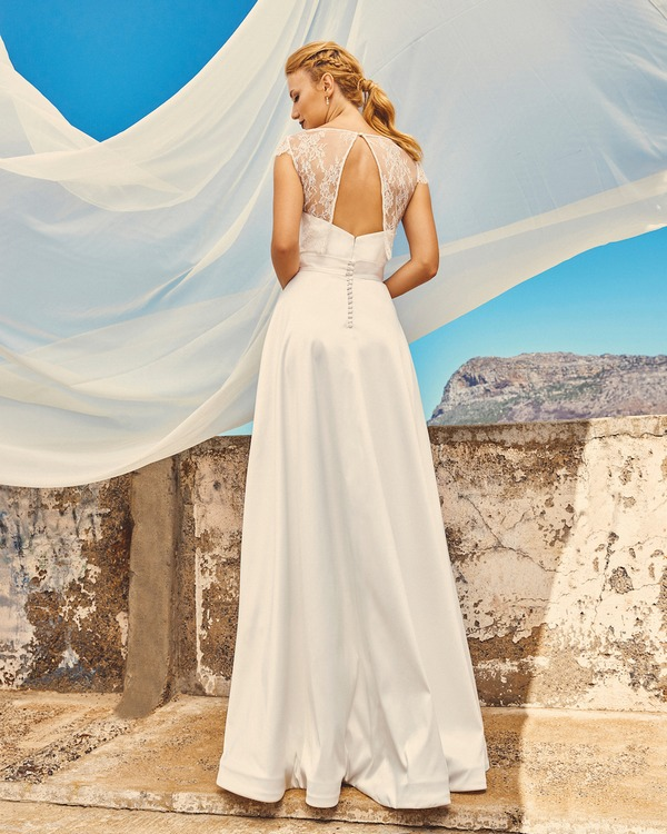 Back of B7417 Chloe Bodice, SK7517 Harper Skirt and T0517 Michelle Crop Top - Elbeth Gillis Milk and Honey 2017 Bridal Collection