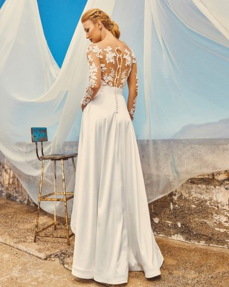Back of B7417 Chloe Bodice, SK7517 Harper Skirt and T3017 Tara Illusion Top - Elbeth Gillis Milk and Honey 2017 Bridal Collection