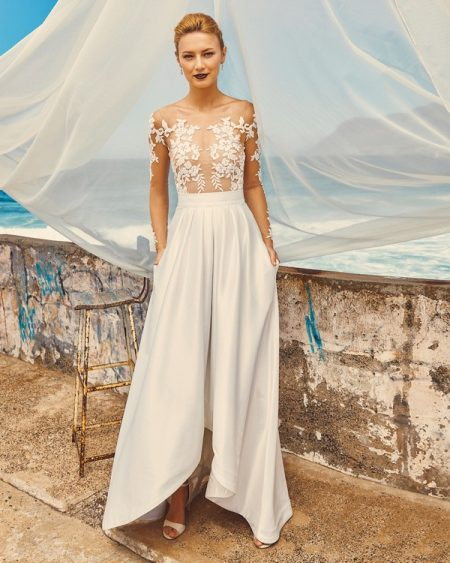B7417 Chloe Bodice, SK7517 Harper Skirt and T3017 Tara Illusion Top - Elbeth Gillis Milk and Honey 2017 Bridal Collection