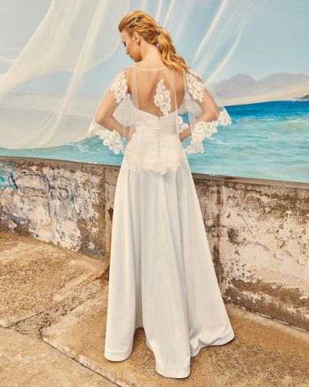 Back of B7417 Chloe Bodice, C7717 Lily Cape and SK7517 Harper Skirt - Elbeth Gillis Milk and Honey 2017 Bridal Collection