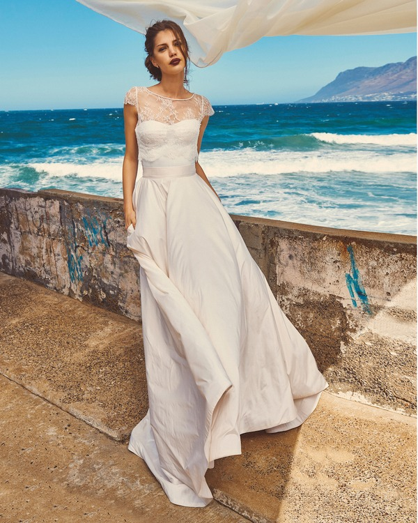 B7417 Chloe Bodice, SK4117 Scarlet Skirt and T0517 Michelle Crop Top - Elbeth Gillis Milk and Honey 2017 Bridal Collection